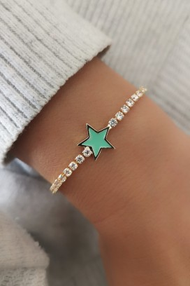 Mint Yeşili Yıldız Bileklik